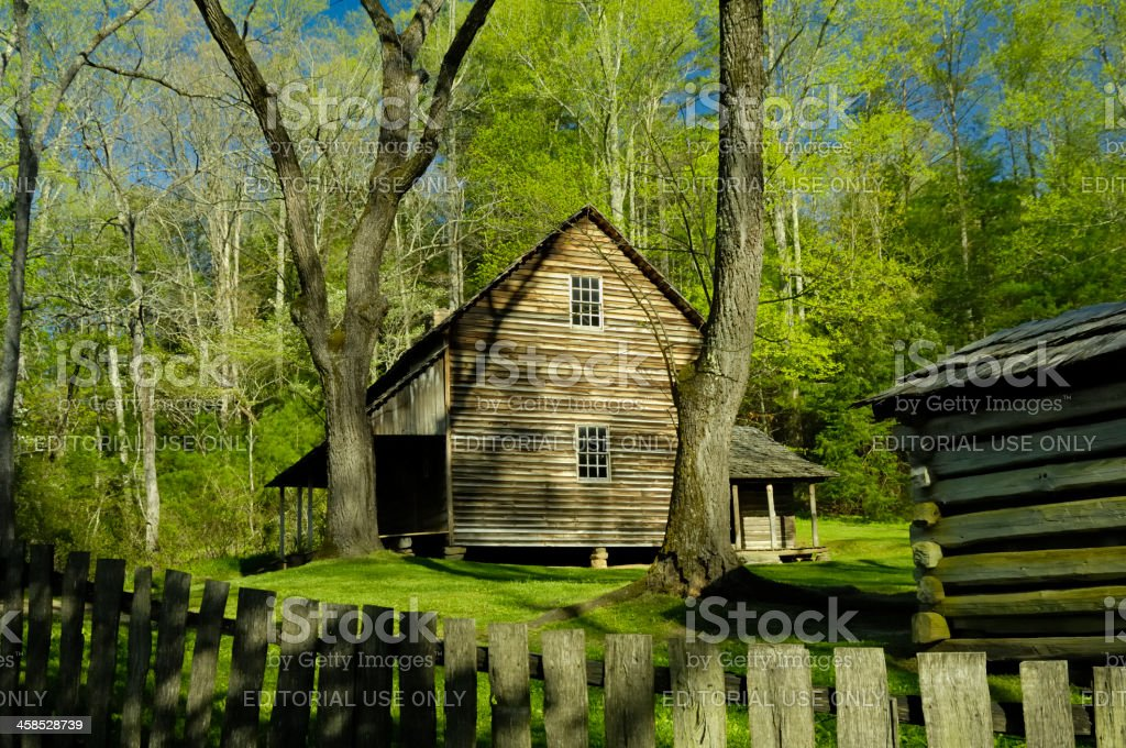Tipton Cabon at Cade's Cove in Early Spring, Smoky Mountains stock photo