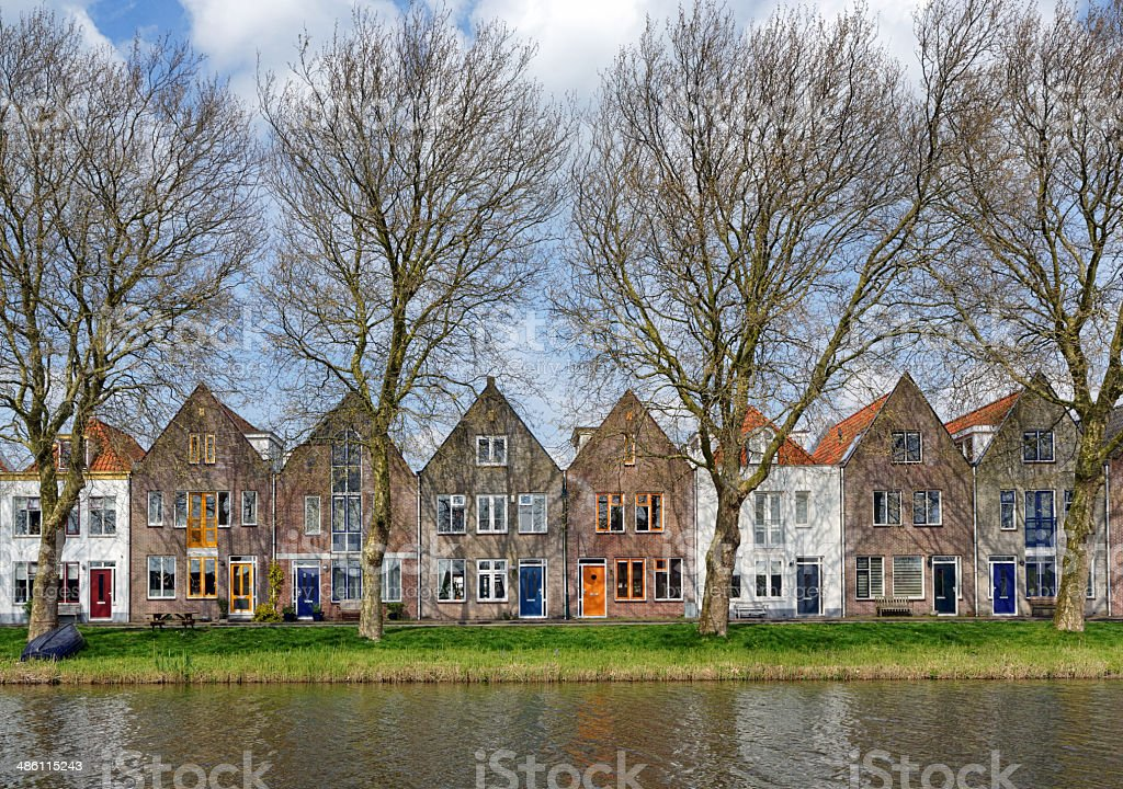 tipycal dutch homes in Edam, Netherlands stock photo
