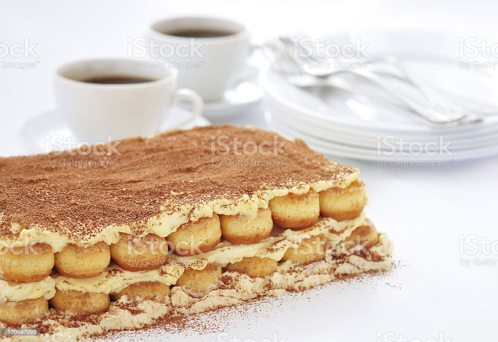 Tiramisu and coffee royalty-free stock photo