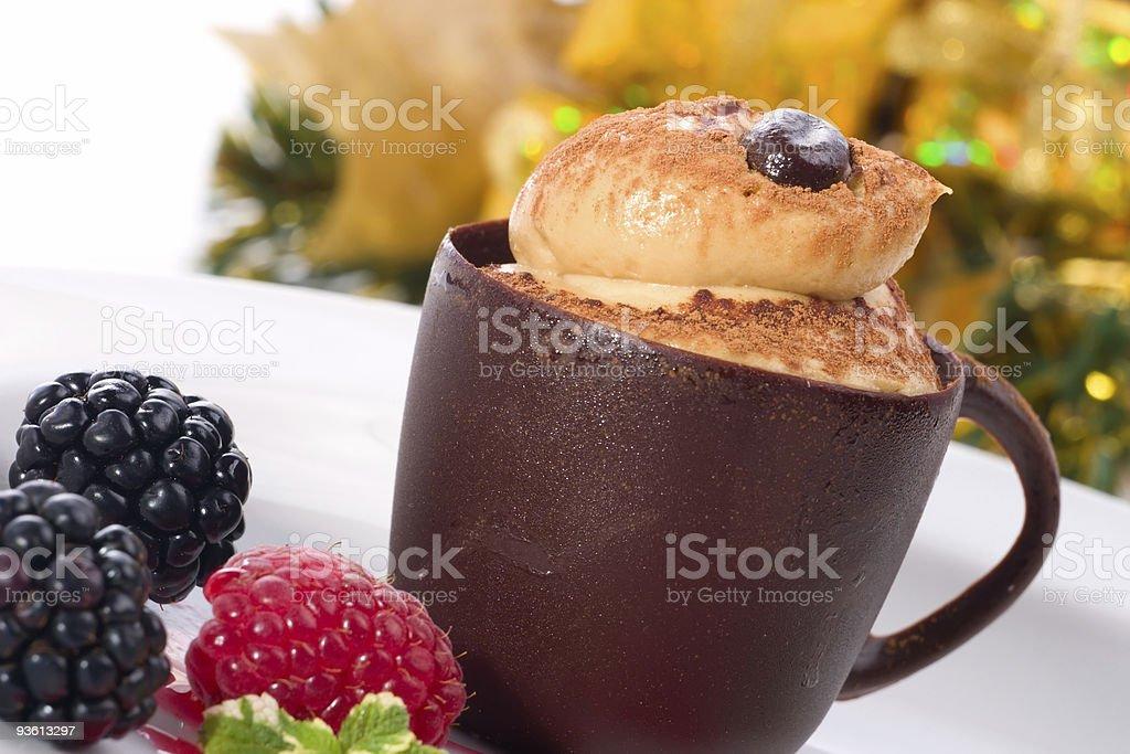 Tiramisu cake in chocolate cup royalty-free stock photo