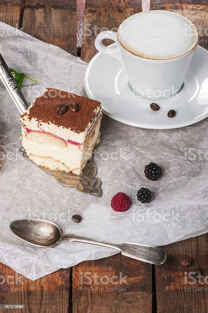 Tiramisu cake with fresh mint royalty-free stock photo