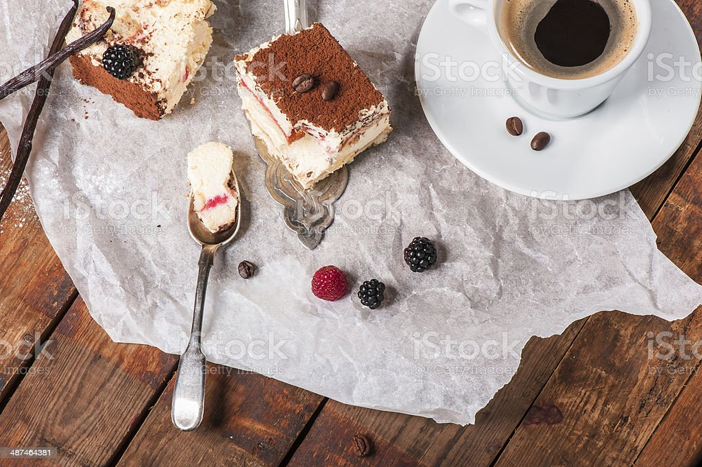 Tiramisu cake with fresh mint royalty-free stock photo