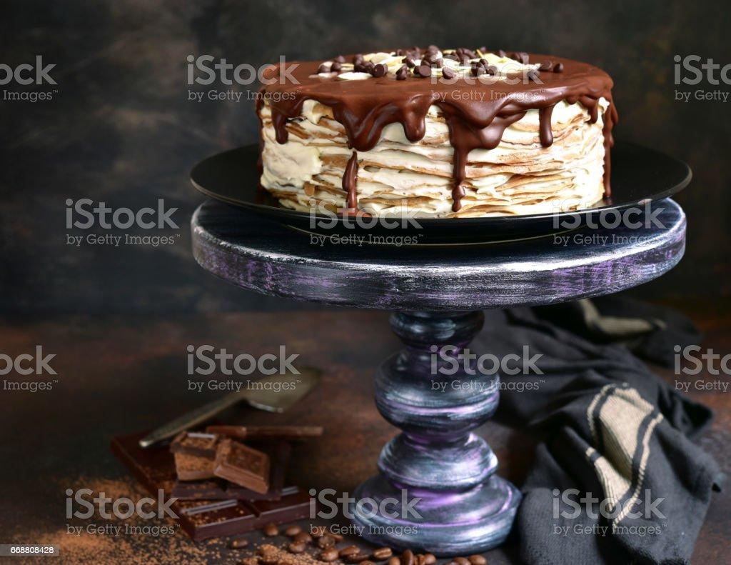 Tiramisu crepe cake stock photo