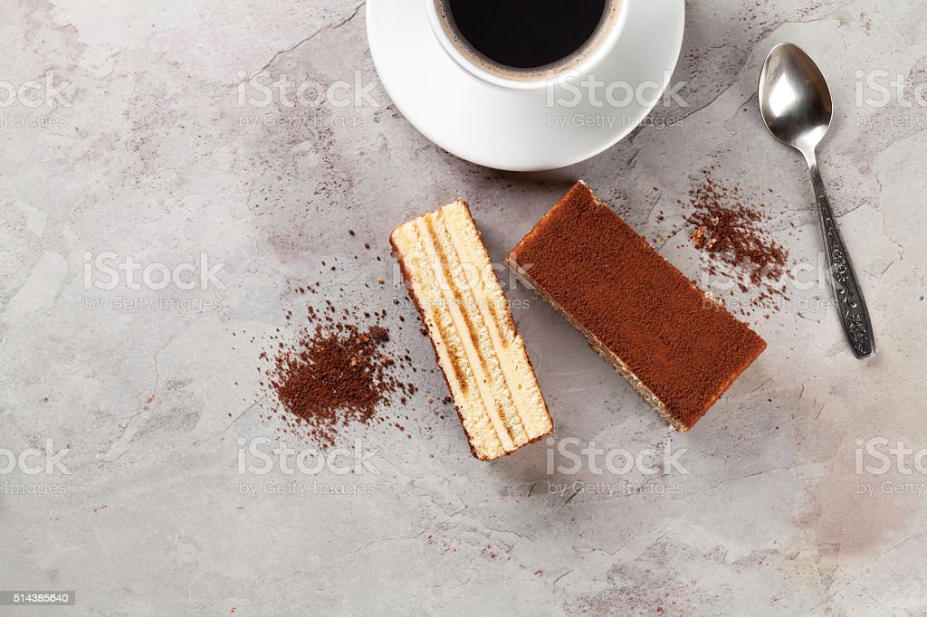 Tiramisu dessert and coffee stock photo