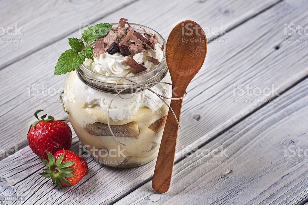 Tiramisu Dessert served in a cup stock photo