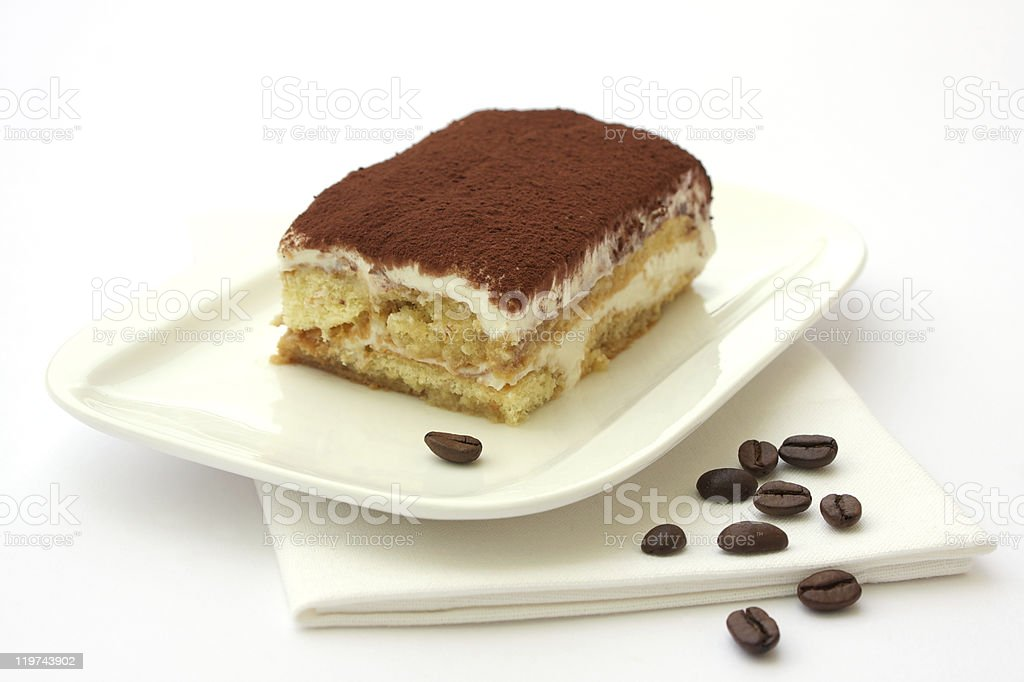 Tiramisu dessert served on a plate royalty-free stock photo