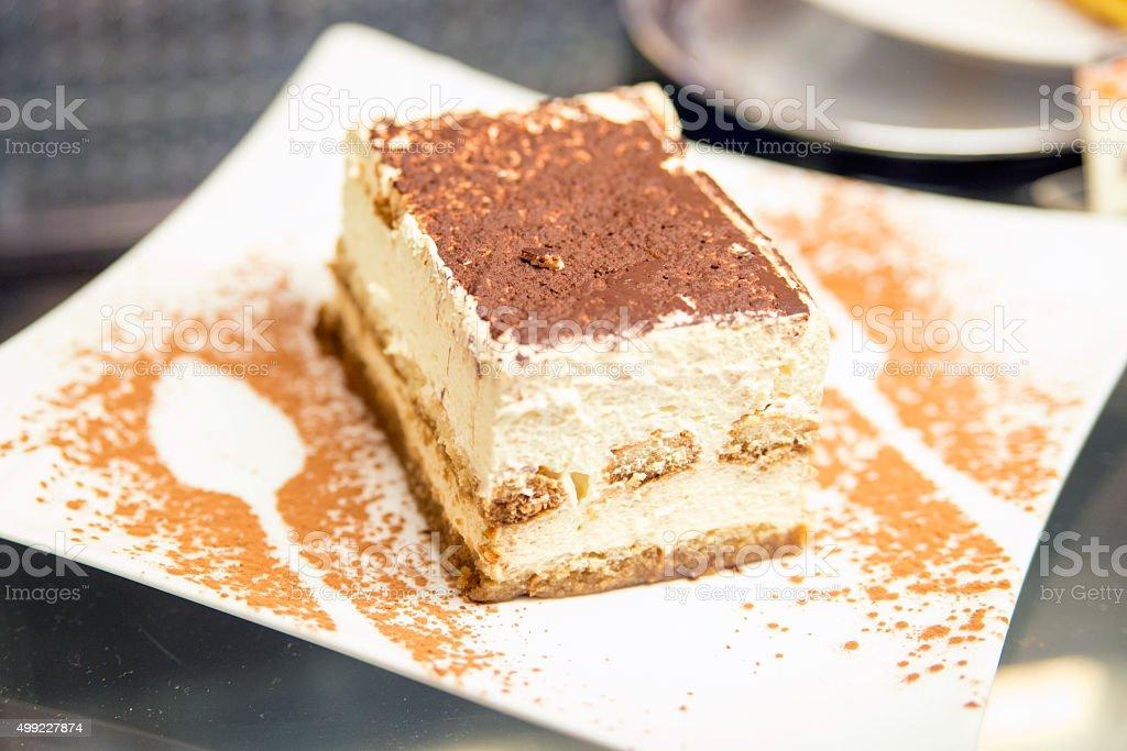 Tiramisu Dessert served on a plate stock photo