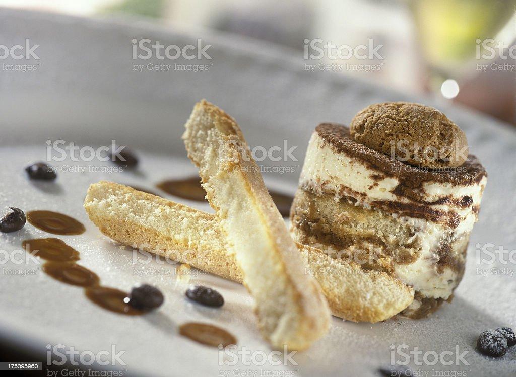 Tiramisu topped with chocolate mousse stock photo