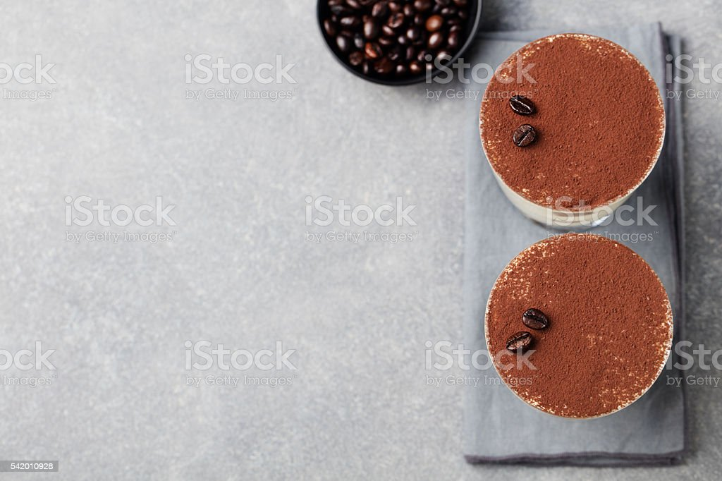 Tiramisu, traditional Italian dessert in glass Copy space Top view stock photo