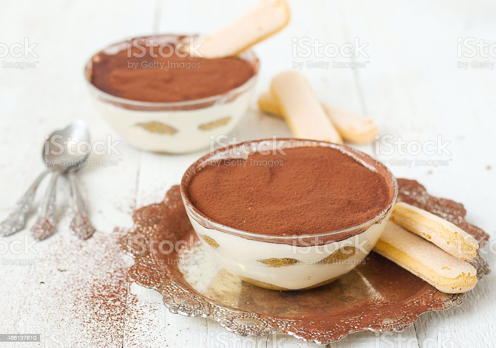 Tiramisu, traditional Italian dessert.selective focus stock photo