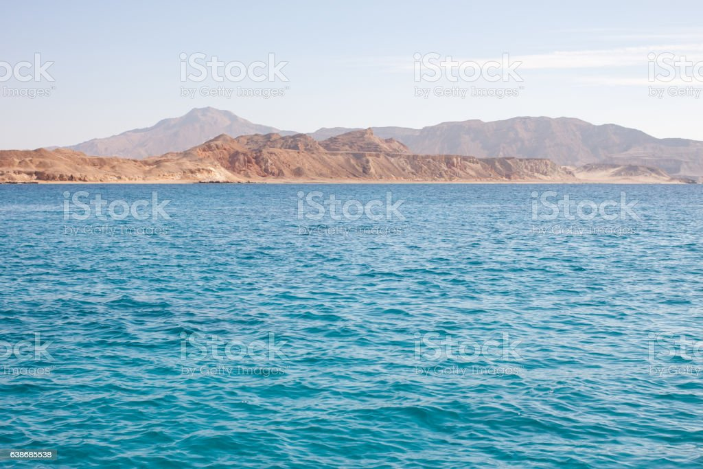 Tiran island Egypt view from the sea stock photo