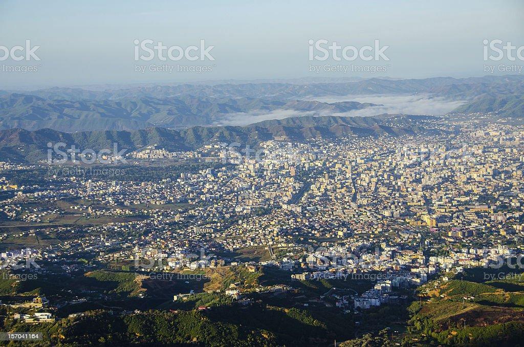 Tirana, Albania - view from Mount Dajti stock photo