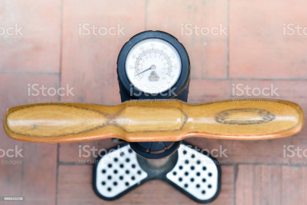 tire air manual pump stock photo