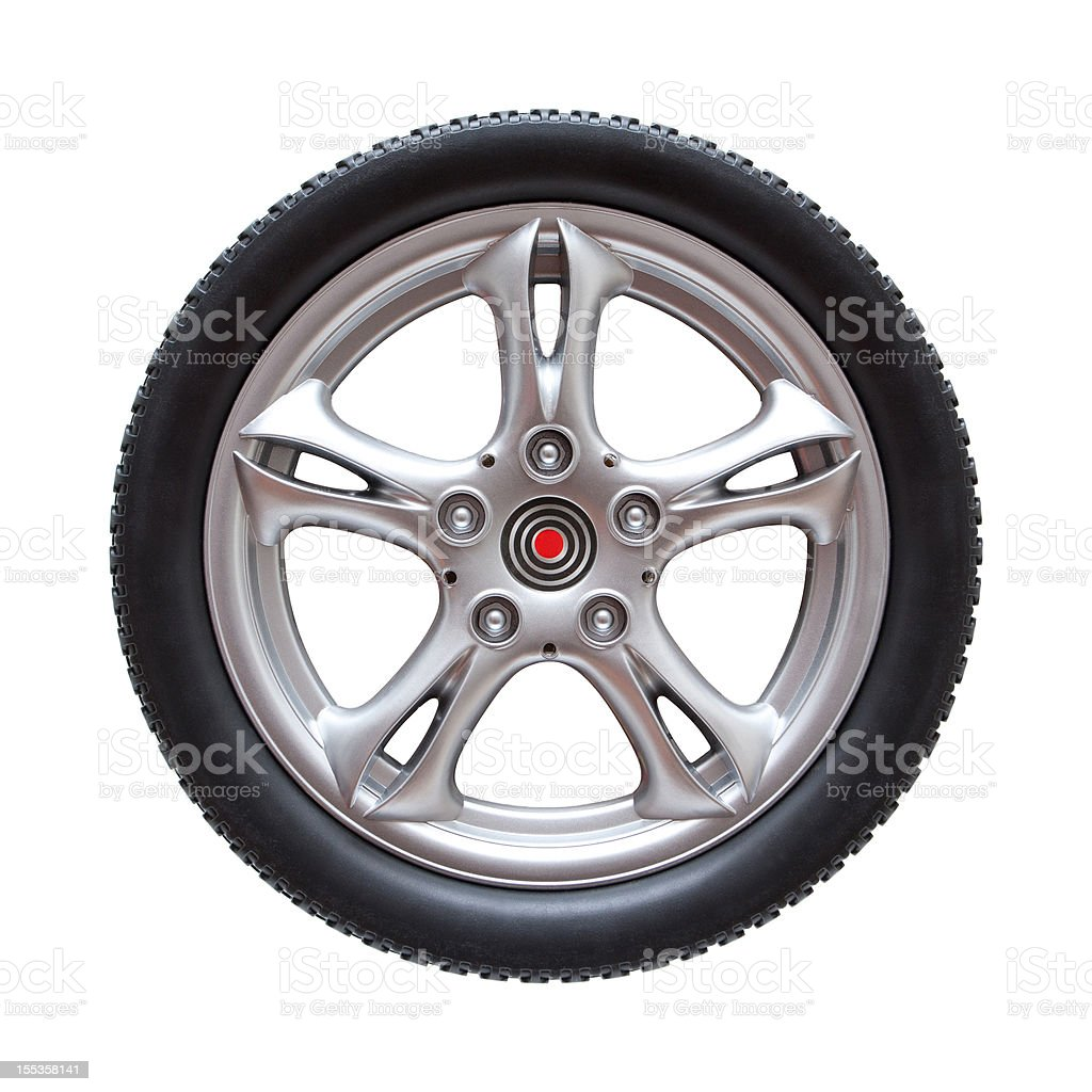 Tire and Wheel (Clipping Path!) isolated on white background royalty-free stock photo
