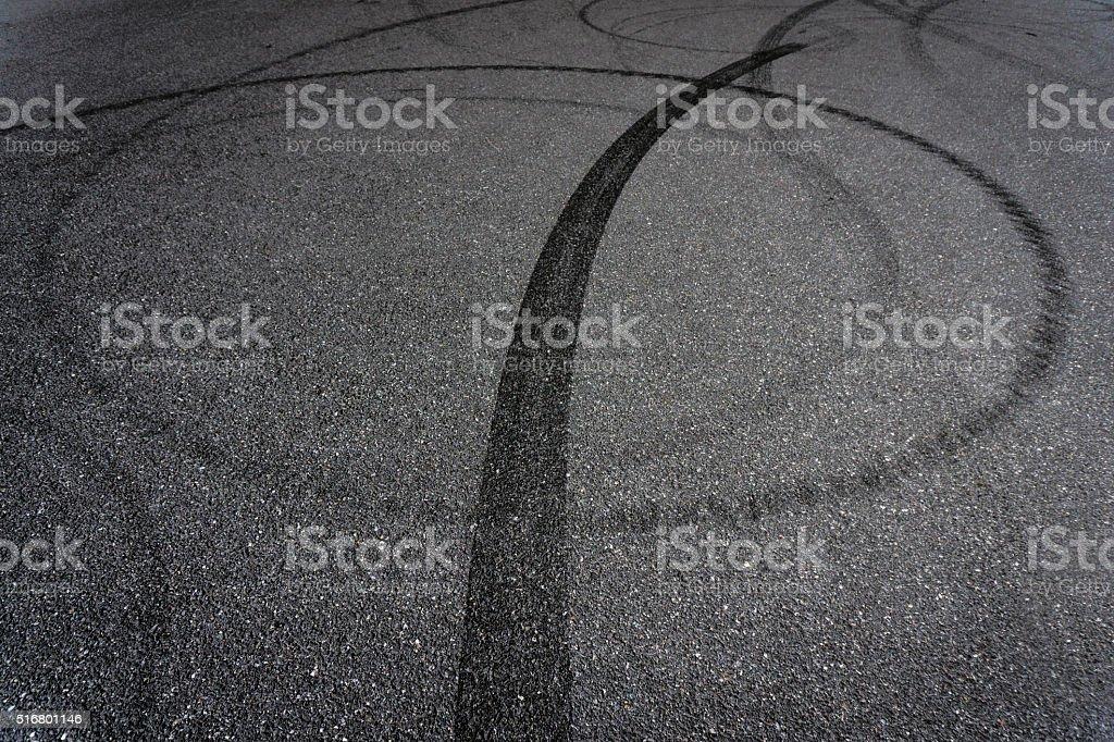 Tire Break on Asphalt stock photo