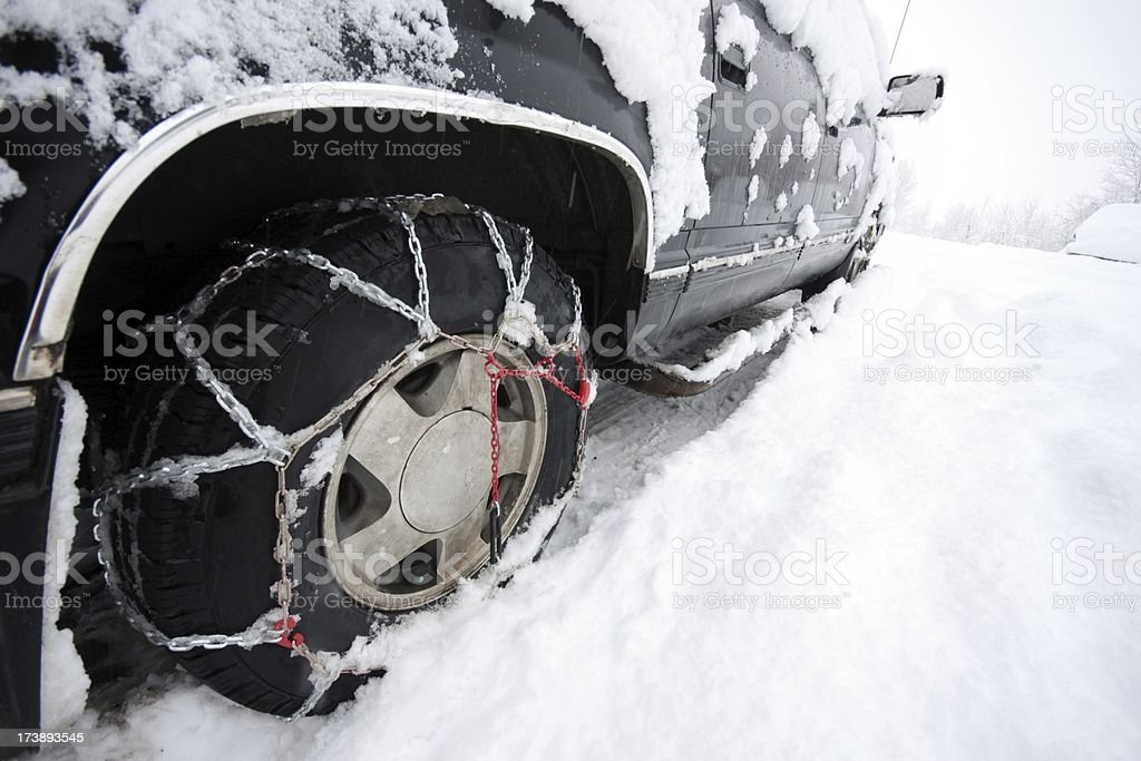 Tire Chains, What All The Fashionable Vehicles Are Wearing stock photo