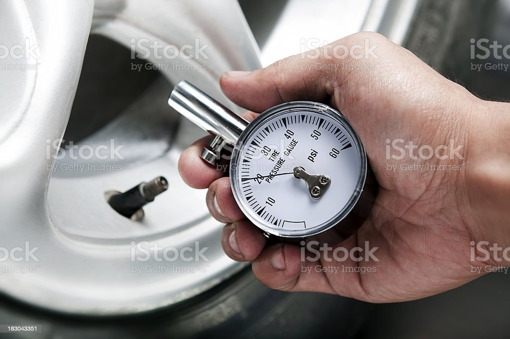 tire gauge stock photo