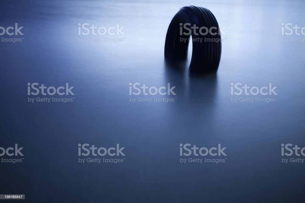 Tire in a lake royalty-free stock photo