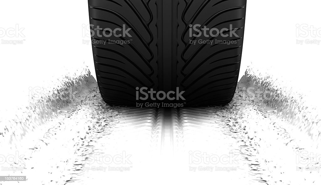 Tire making splashes stock photo