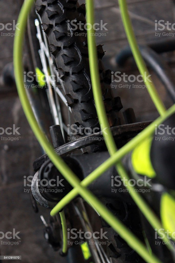 Tire of a modern bicycle stock photo