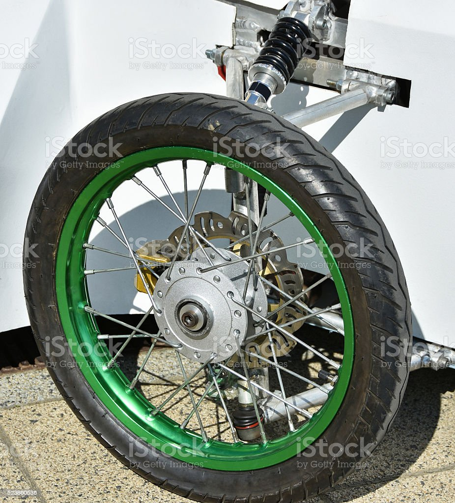 Tire of a sidecar motorcycle stock photo