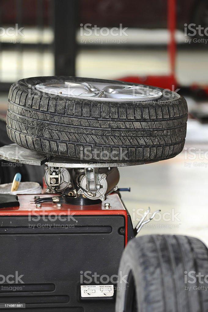 Tire on  rotation machine royalty-free stock photo