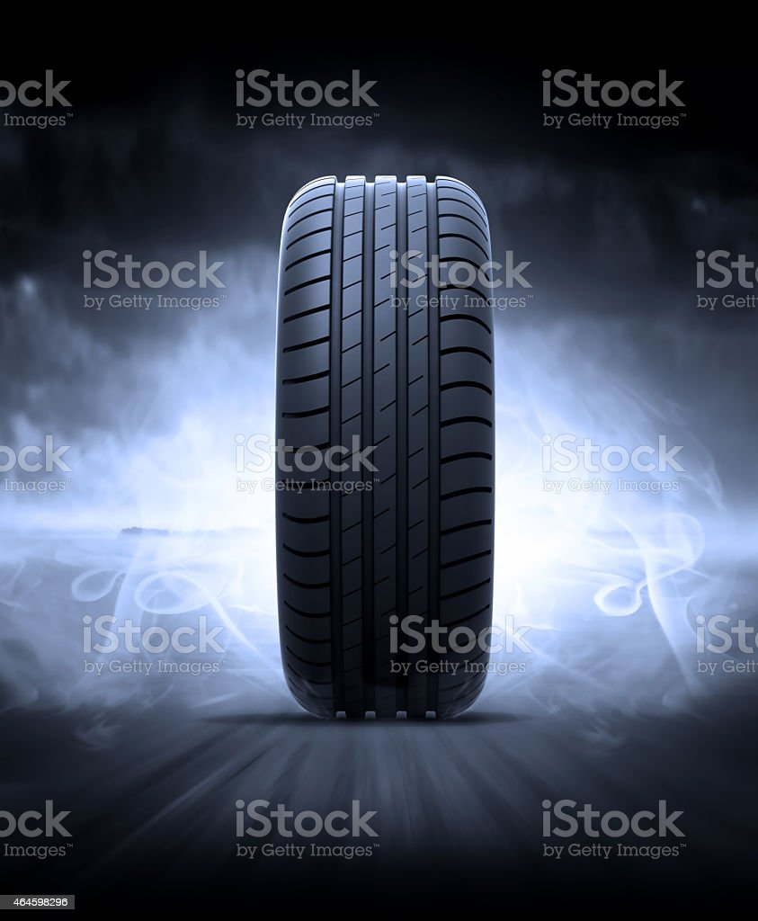 Tire on the road stock photo