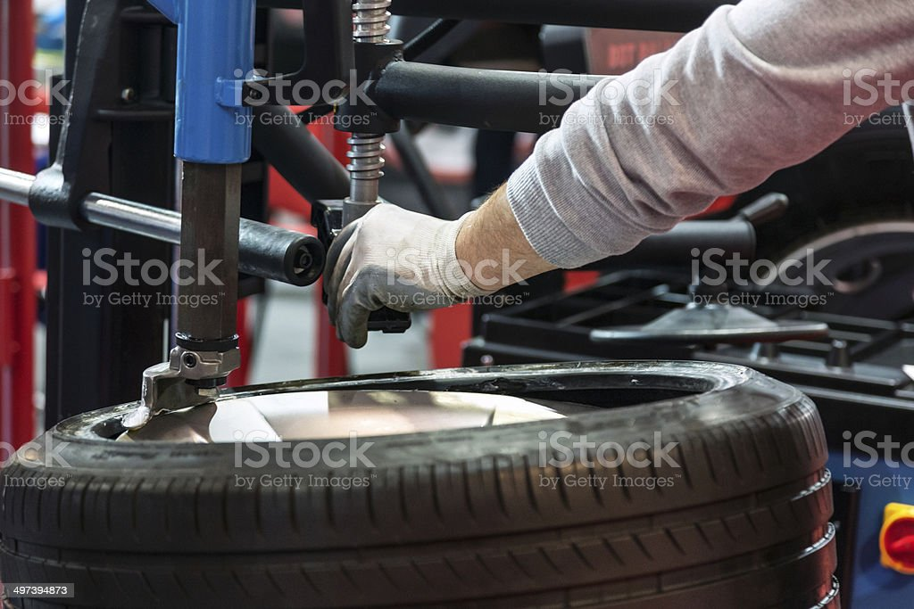 Tire repair stock photo