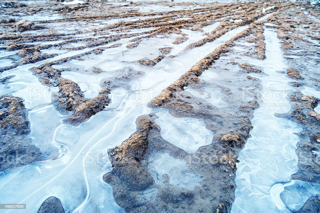 Tire track and mud in winter stock photo