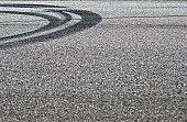 Tire track on asphalt
