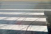 Tire track on zebra crossing