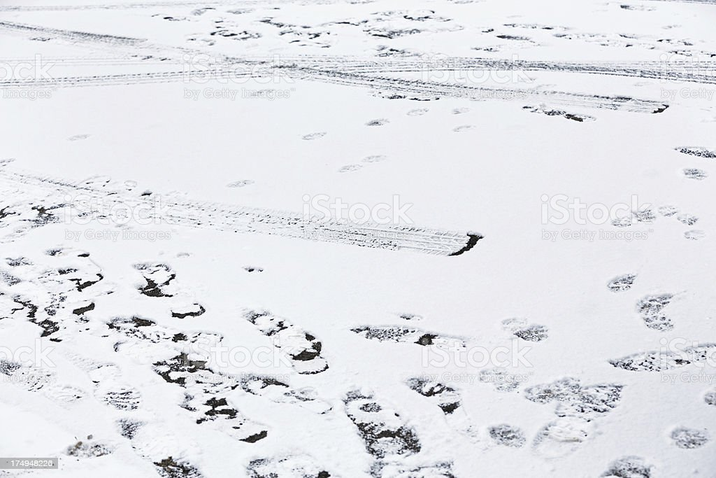 Tire Tracks and Footsteps on Snowy Driveway stock photo