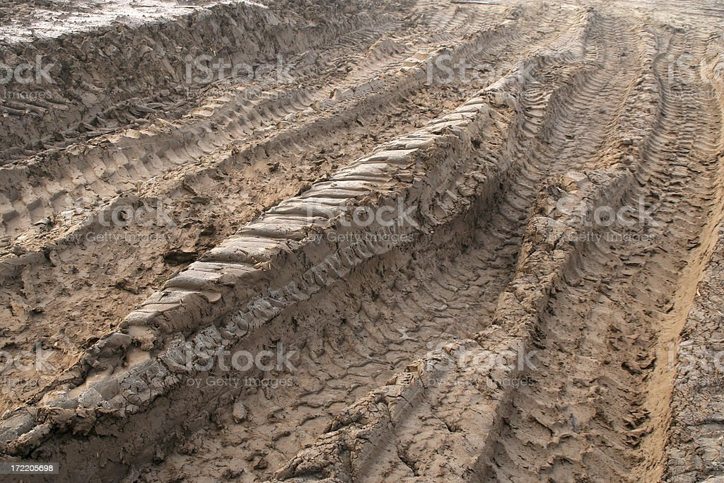 Tire tracks in sand royalty-free stock photo