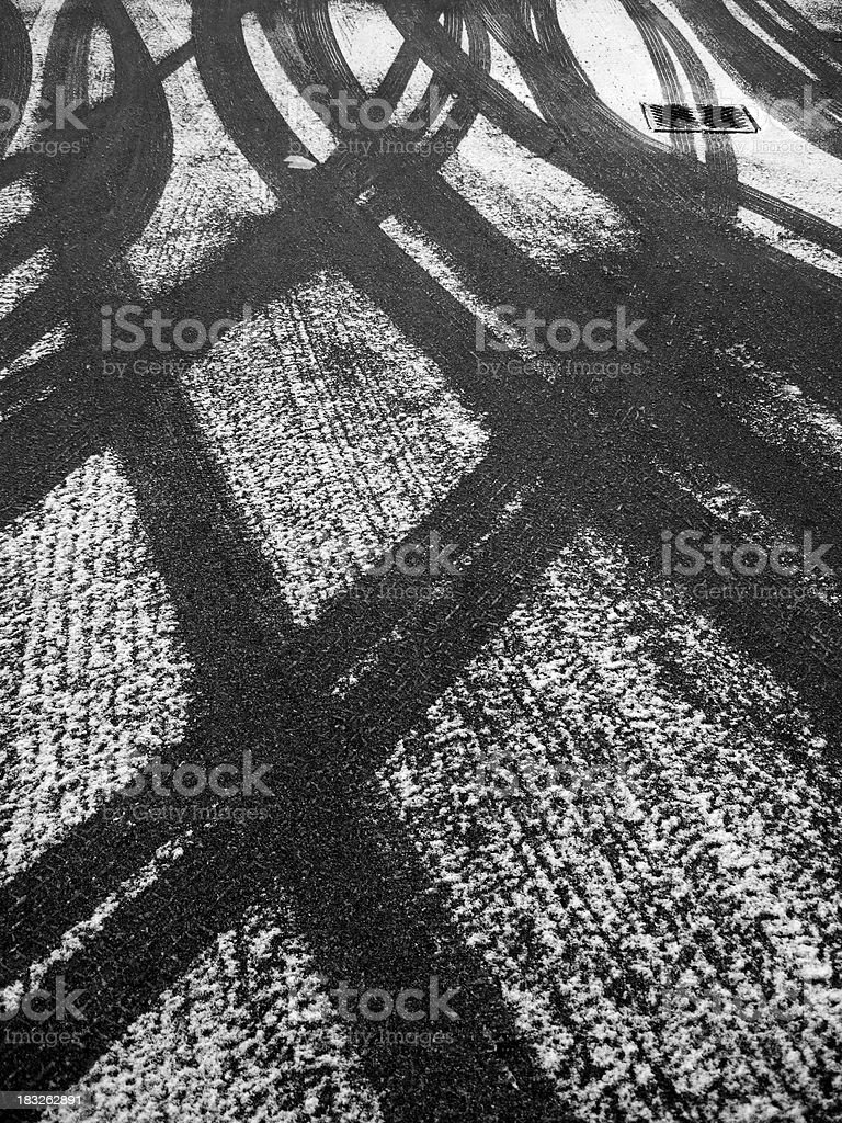 Tire Tracks in Snow royalty-free stock photo