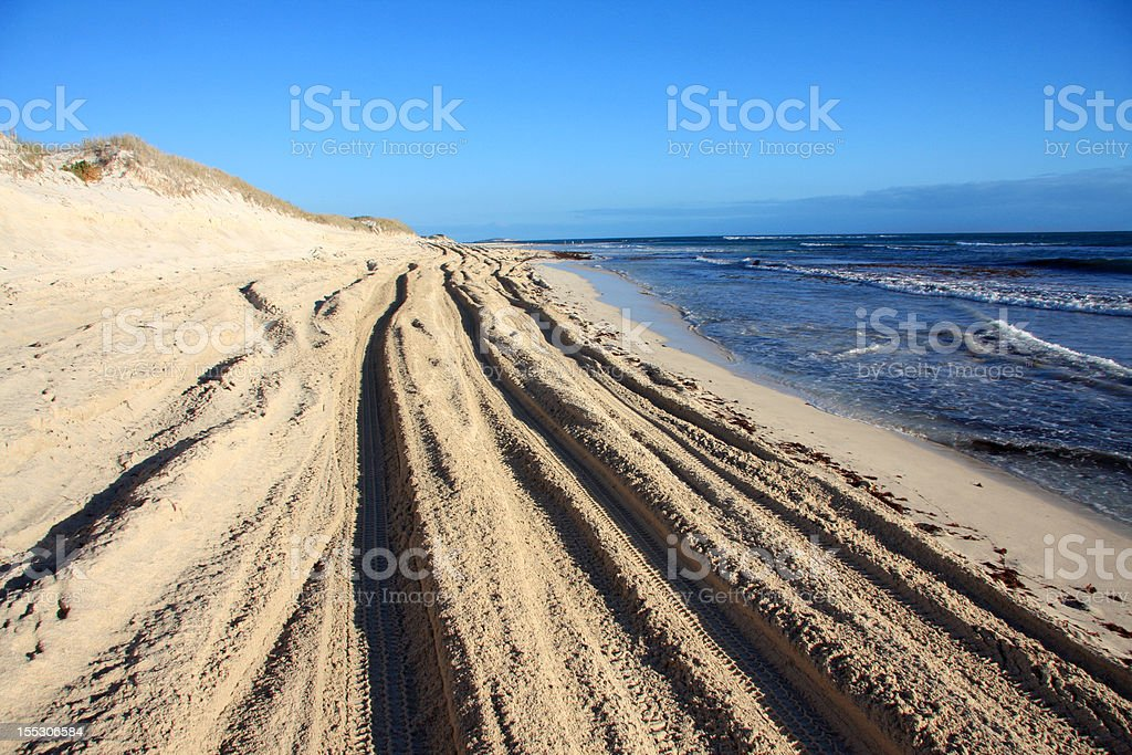 Tire Tracks in the deep Sand royalty-free stock photo