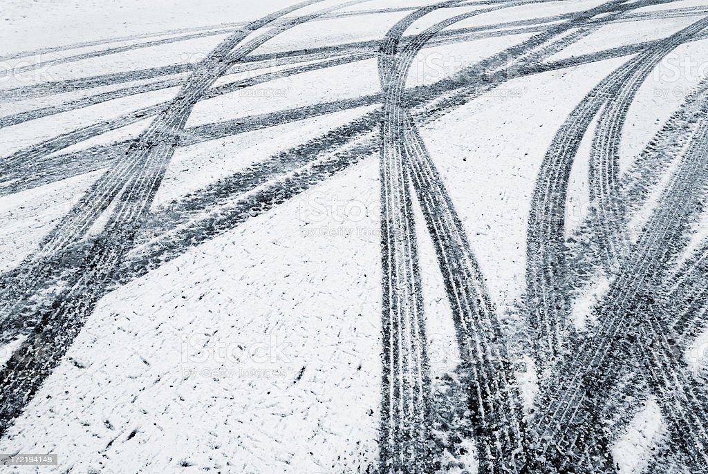 Tire tracks in the fresh snow royalty-free stock photo