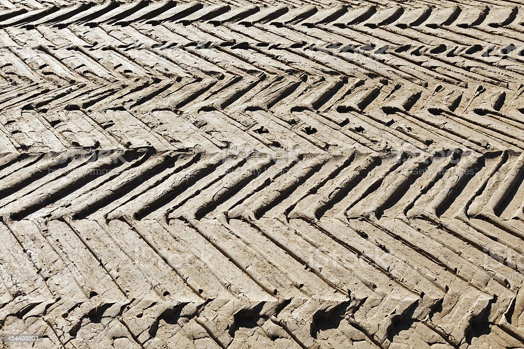 Tire tracks in the mud on construction site. royalty-free stock photo