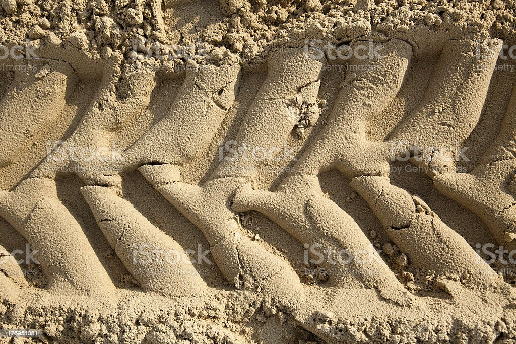 Tire Tracks in the Sand - Frontal Close Up royalty-free stock photo