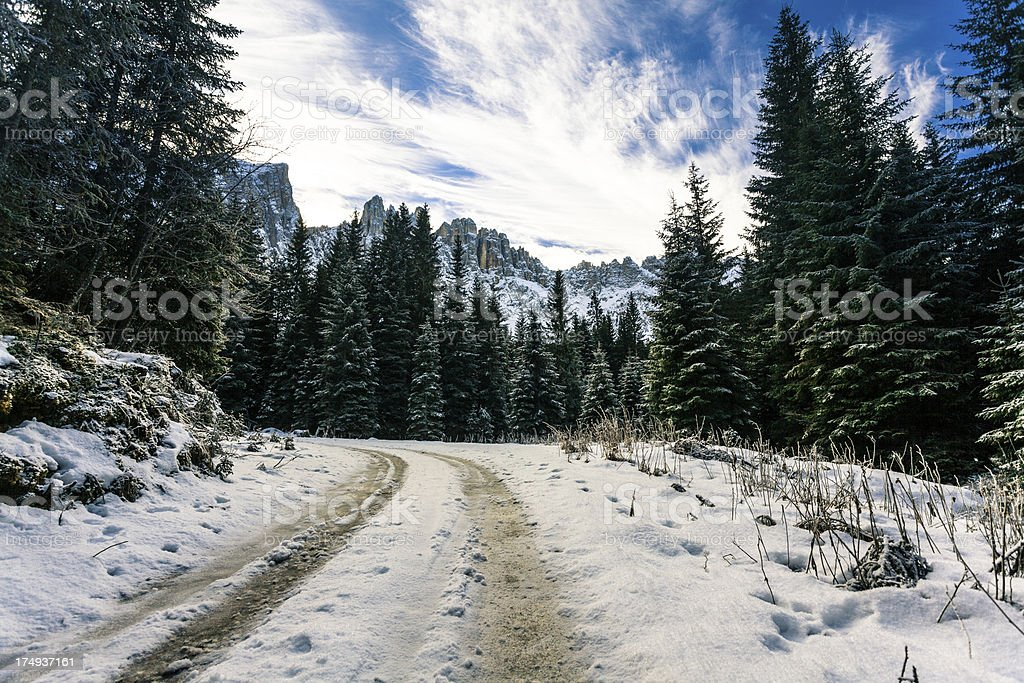 Tire Tracks in the Snow, Dolomites at Winter royalty-free stock photo