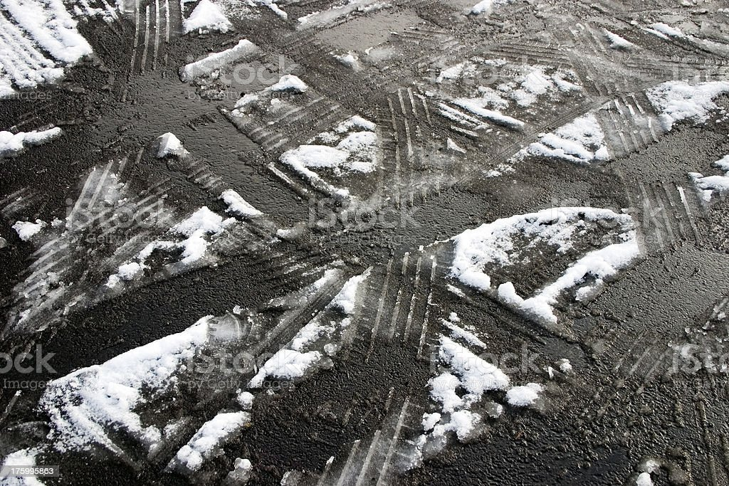 Tire Tracks in the Snow royalty-free stock photo