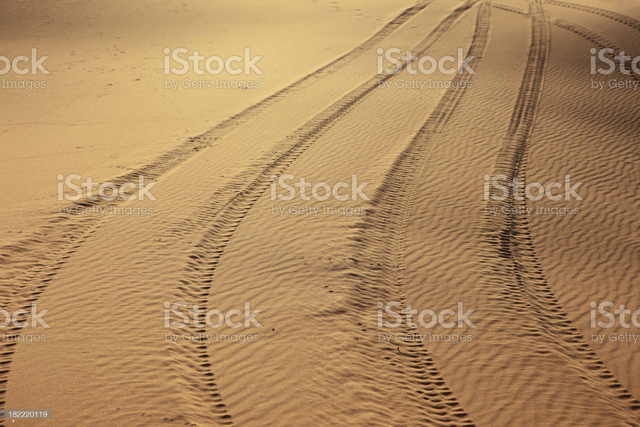 Tire Tracks On Sand, Sahara Desert, Morocco royalty-free stock photo