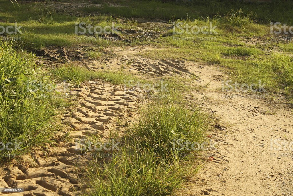 Tire tracks on the ground royalty-free stock photo