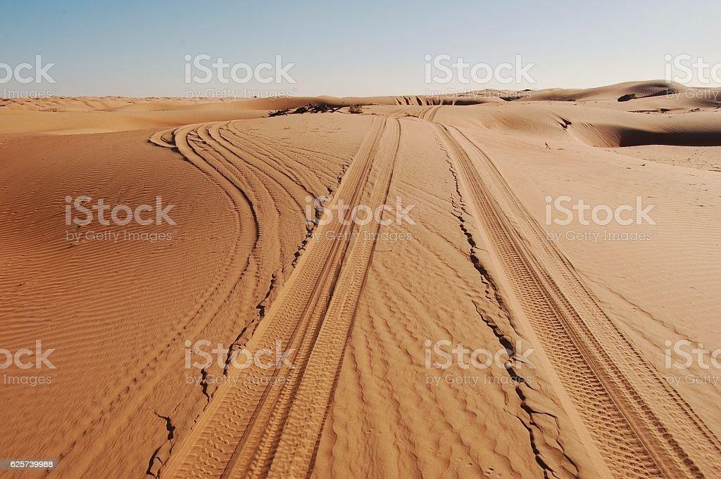 Tire Tracks Through Desert Sand Dunes, Fork in Path stock photo