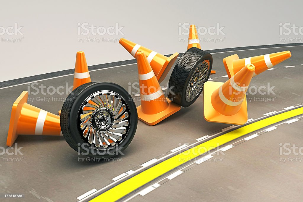 Tire with Under Construction Cone royalty-free stock photo