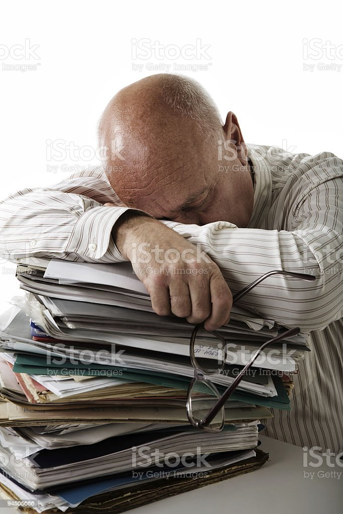 Tired accountant stock photo