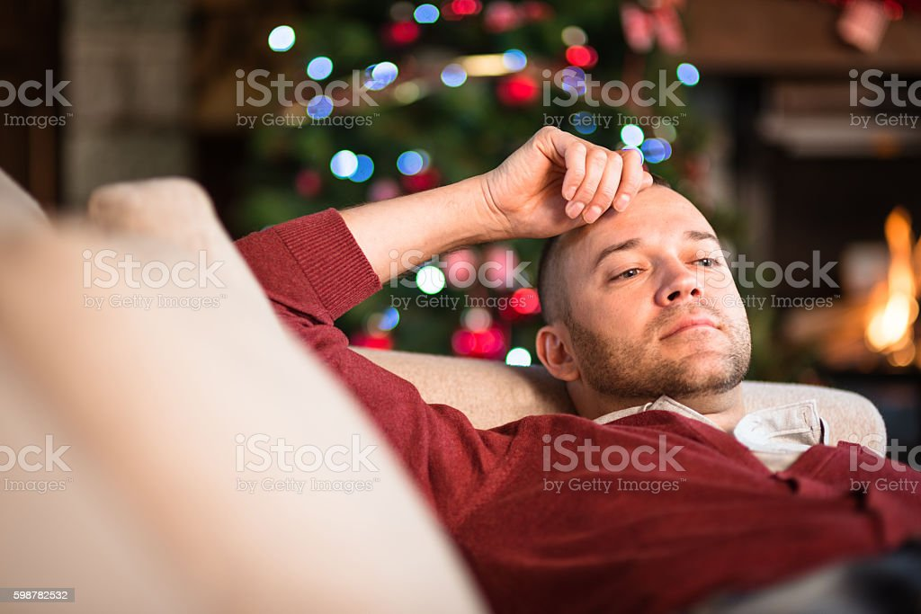 tired after the christmas party stock photo