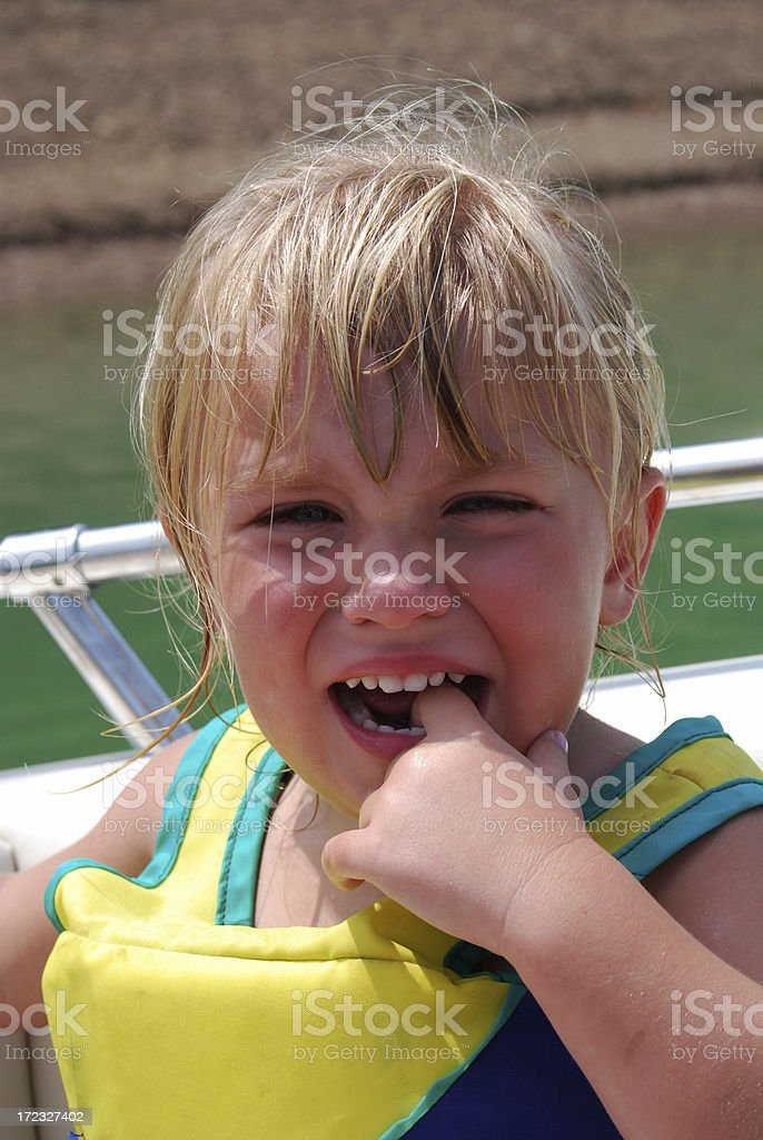 Tired and Crying ont he Boat royalty-free stock photo