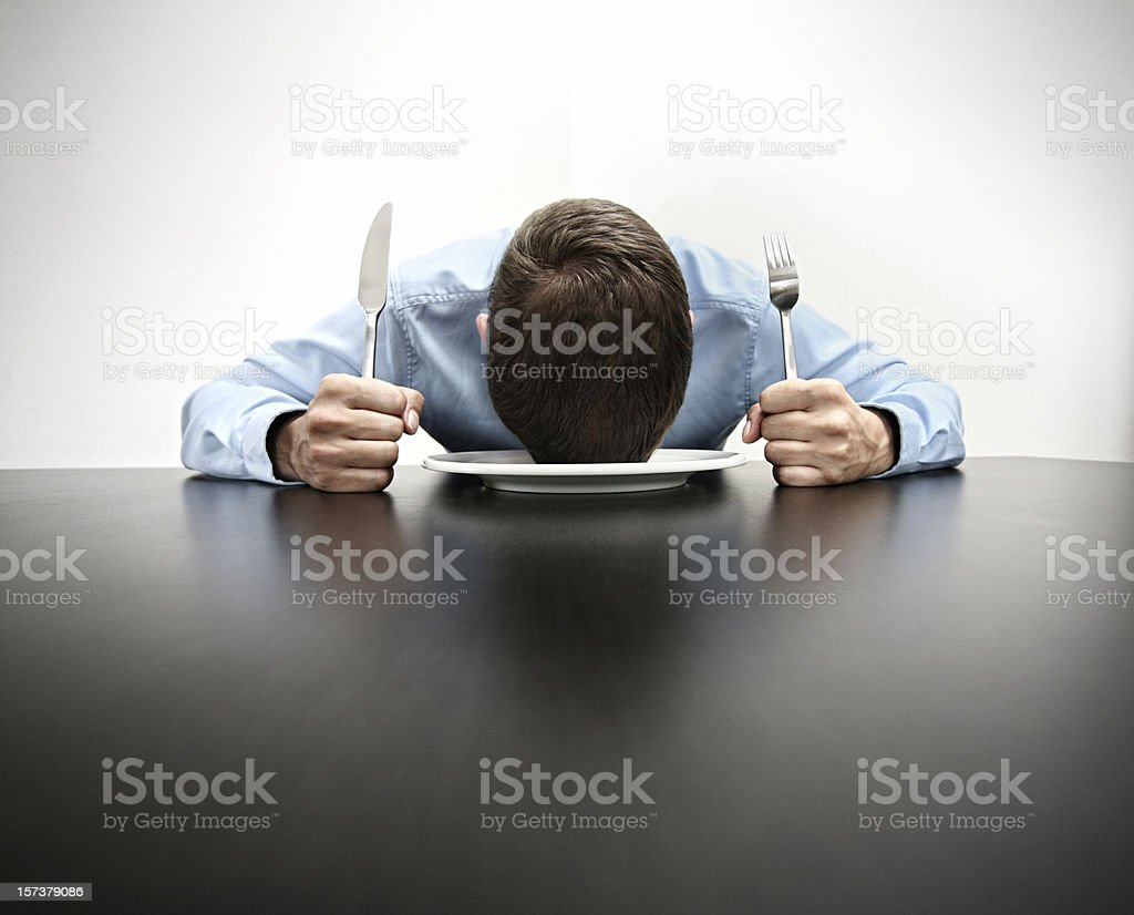 tired and hungry stock photo