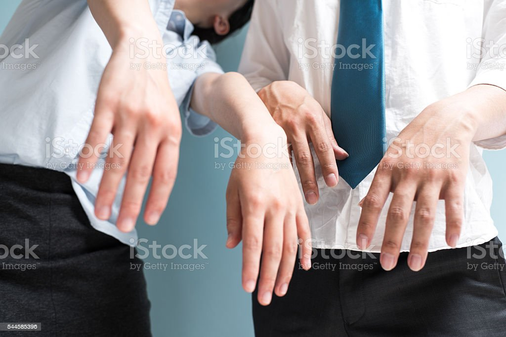 Tired business people stock photo
