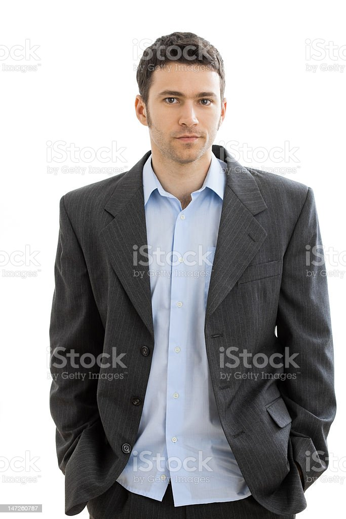 Tired businessman after work stock photo